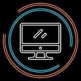 Simple Monitor Thin Line Vector Icon stock illustration