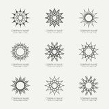 Simple monochrome geometric abstract symmetric. Shapes set. Modern business icon collection. Logo template. Hexagon round ornament. Vector symbols, emblems Royalty Free Stock Image