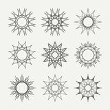 Simple monochrome geometric abstract symmetric. Shapes set. Modern business icon collection. Logo template. Hexagon round ornament. Vector symbols, emblems Stock Images