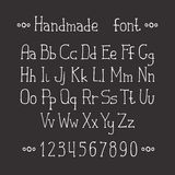 Simple monochrome hand drawn font. Complete abc Royalty Free Stock Photography