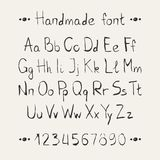 Simple monochrome hand drawn font. Complete abc Stock Image