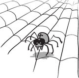 Simple monochrome  image - spider in web Royalty Free Stock Images