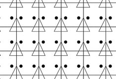 Simple monochrome line, triangle and dots pattern Royalty Free Stock Images