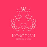 Simple  monogram design template, Elegant line art logo design, Stock Photos