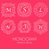 Simple monogram design template, Elegant line art logo design Royalty Free Stock Photos