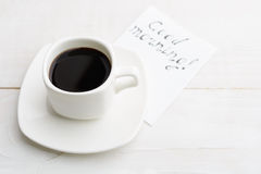 Simple morning with white cup of coffee for better half with `go Royalty Free Stock Photo