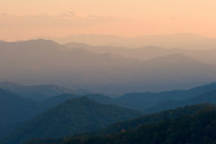 Simple Mountain Sunset. Simple view of a mountain valley overlook at sunset - Smoky Mountains Nat. Park, USA Royalty Free Stock Image