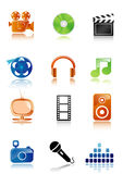 Simple multimedia icons Stock Image