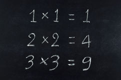 Simple multiplication equation. On blackboard Stock Photography