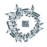 Simple music background with notes and clef. Stock Image