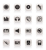 Simple Music and sound Icons. Vector Icon Set Royalty Free Stock Image