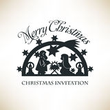 Simple Nativity scene. Christmas invitation Stock Image