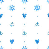 Simple nautical pattern with watercolor painted Stock Images