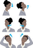 Simple neck stretching exercise. African American woman stretching her neck in the office Stock Photos