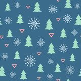 Simple new year seamless pattern with Christmas trees, snowflakes and triangles. Vector illustration. vector illustration