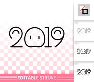 2019 simple new years eve black line vector icon. 2019 thin line icon. Outline web new years eve sign. Numbers banner linear pictogram with different stroke vector illustration