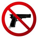 Simple `No firearms allowed`. Red gradient sign, black silhouette. Isolated on white Stock Photo