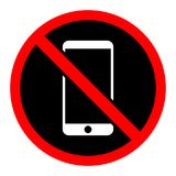 Simple `No phones allowed` sign/icon. Red gradient sign, white phone on black vector illustration