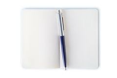 Simple note book with pen. Clipping path. Stock Photo