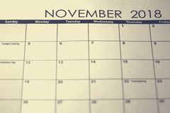 Simple November 2018 calendar. Week starts from Sunday. royalty free stock images