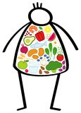 Simple obese stick figure man on a diet, body filled with healthy foods, colorful vegetables, changing his eating habits. Simple obese stick figure man on a diet Stock Image