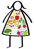Simple obese stick figure woman on a diet, body filled up with healthy foods, colorful vegetables, trying to lose weight. Simple obese stick figure woman on a Royalty Free Stock Photos