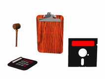 4 simple objects in the illustration. Judges hammer, calculator, small board Stock Photos