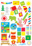 Simple objects for kindergarten. Vector clip-arts / illustrations for design and copy-book Royalty Free Stock Image