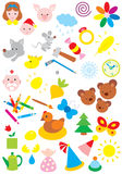 Simple objects for kindergarten Royalty Free Stock Images