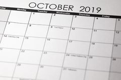 Simple October 2019 calendar stock photography