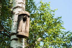 Simple old birdhouse in a rustic style. Concept of the season, guest house, own housing, natural materials. Modern Stock Photos