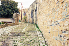 Simple old stone street. In Cyprus village Stock Images