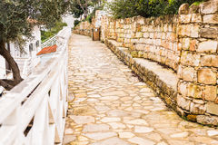 Simple old stone street. In Cyprus village Royalty Free Stock Photo