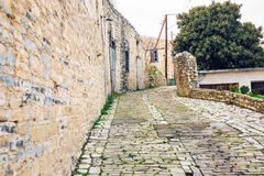 Simple old stone street. In Cyprus village Stock Photo