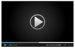 Simple online video player for web in dark colors Royalty Free Stock Photos