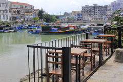 Simple open-air cafe of shapowei sheltered dock Royalty Free Stock Photo