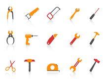 Simple orange color hand tool icons set Royalty Free Stock Photo