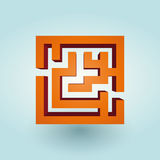 Simple orange maze Stock Photo