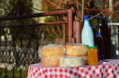 Organic food. Some ecologic organic rustic foods exposed in the village street for sale: home made cheese, cow milk, honey and wine. Carpathian mountains area Royalty Free Stock Photo