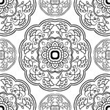 Simple ornament with floral mandalas. Stock Photos
