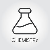 Simple outline black icon of chemical flasks. Pixel perfect 48x48 px. Simplicity pictograph. Logo for buttons, websites, mobile apps and other design needs Stock Photos