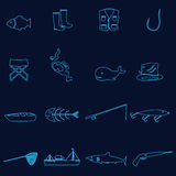 Simple outline blue fishing icons set eps10. Simple outline blue fishing icons set Stock Photo