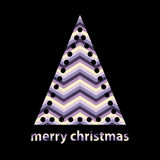 Simple outline christmas tree with chevron zigzag Royalty Free Stock Photo