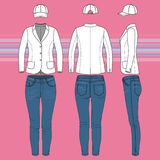 Simple outline drawing of a blazer, jeans and cap stock illustration