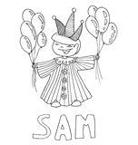 The simple outline drawing for coloring  of children meaning of the name and images Royalty Free Stock Photos