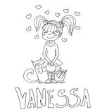 The simple outline drawing for coloring  of children meaning of the name and images Royalty Free Stock Photography