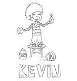 The simple outline drawing for coloring  of children meaning of the name and images Royalty Free Stock Photo