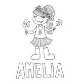 The simple outline drawing for coloring  of children meaning of the name and images Royalty Free Stock Image
