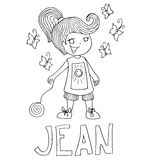The simple outline drawing for coloring  of children meaning of the name and images Stock Image