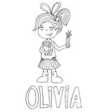 The simple outline drawing for coloring  of children meaning of the name and images Stock Photos